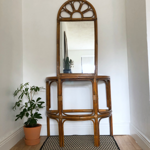 Bamboo console table and mirror
