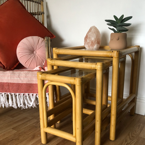 Bamboo nested table trio