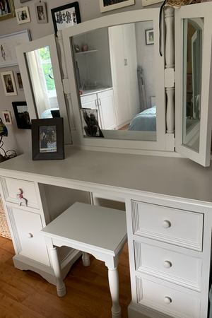 Oak Vanity Table with mirror and stool