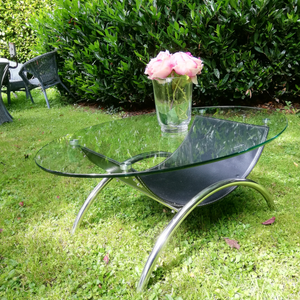 Glass, Leather and Chrome Coffee Table