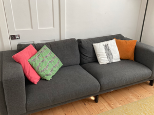 Three Seater Couch and pouffe