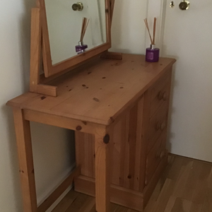 Antique Wax Dressing Table and Swing Mirror