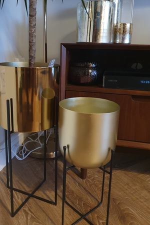 Gold Planter with Metal Stand